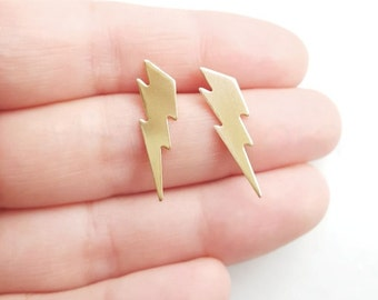 Lightning Bolt Earrings, Lightning Jewelry, Brass Jewelry, Thunder Bolt Jewelry, Golden Lightning Bolt, Sterling Silver Hypoallergenic Studs