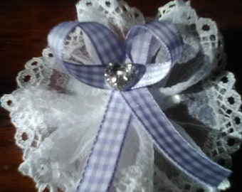 Gingham Hair Bows -Set of 2- Hand made in Iowa