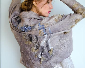 Modern drape body wrap sweater nuno felted from wool and silk and natural dyes ooak