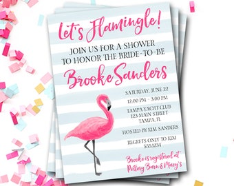 Flamingo Bridal Shower Invitation, Flamingo Invitation, Tropical Bridal Shower Invitation, Flamingo Invite, Flamingo Shower, Let's Flamingle