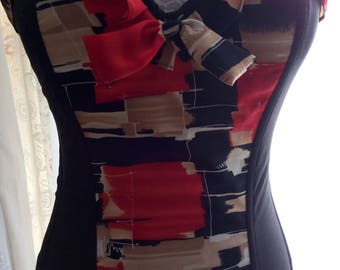Pretty corset / bustier in cotton lycra in black and red and beige polyester