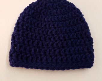 Basic Crochet Soft Navy Newborn Hat Photo Prop Girl Boy Baby Infant Toddler Made to Order