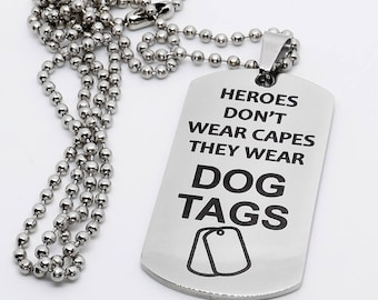 Dog Tag, Military Style Dog Tag, Stainless Steel Dog Tag, Jewelry Dog Tag, Personalized Dog Tag, Military Style Jewelry, Heroes
