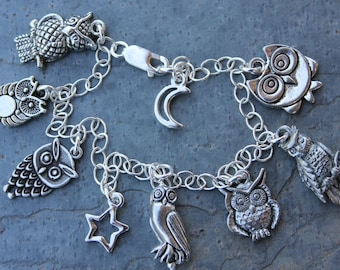Owl Party charm bracelet - silver pewter owls, moon, star on sterling silver chain - bird charm bracelet- free shipping USA