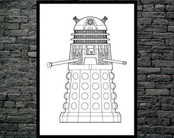 Doctor Who Dalek Patent, Dr. Who Dalek Poster, Dalek Blueprint,  Dalek Print, Dalek Art, Dalek Decor, Doctor Who Wall Art