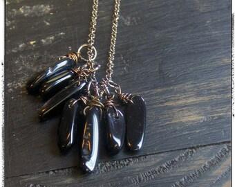 The Black Rain Onyx Necklace. Black Onyx Agate stone fringe boho cluster necklace.