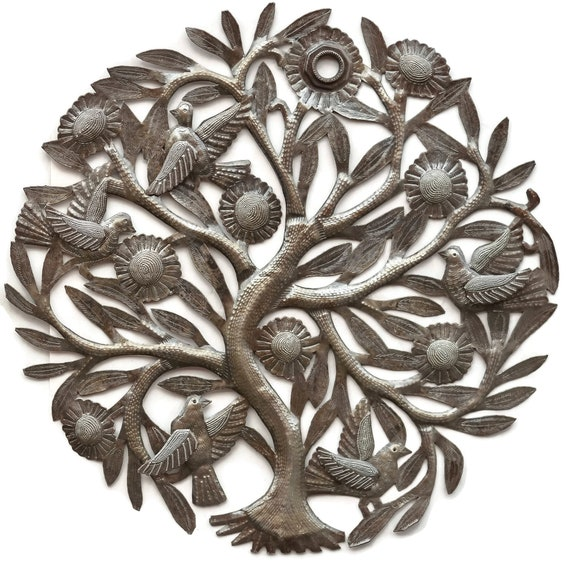 Tree of Life w/ Big Flowers & Birds Unique Haitian Craftsmanship, Limited Edition 24 x 23.5