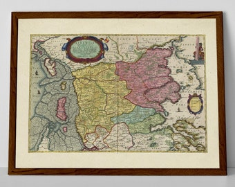 Old Map of Sønderjylland   Historical Danish Map – Aabenraa, Rodekro, Norre Logum, Husum-Ballum, Tønder, Christiansfeld, Kolding, Esbjerg