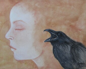 "Raven Art Print ~Halloween Arrt ~Raven and Woman Art ~Woman and Raven ""Focused"""