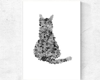 Cat printable, printable cat wall art, abstract cat art, black and white wall art, cat downloadable, cat poster, 4x6, 5x7, 8x10 print, 24x36