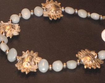 Silver Karen Hill Tribe Crab and  Amazonite Ankle Bracelet