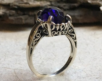 Amethyst ring, Unique engagement ring for her, gypsy ring, Filigree ring, Silver amethyst ring, boho ring, stone ring - Precious hours R2387