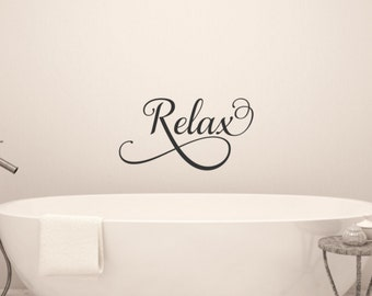 Relax Wall Decal Bathroom Wall Decal Bathroom Vinyl Decal Bathroom Wall Words Bathroom Wall Decor Bathroom Decor