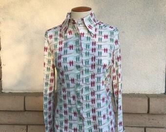 70s Novelty Print Blouse Victorian Men Boho Button Up Shirt Beige Burgundy Green Medium