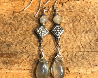 Long Labradorite earrings with crystal accent and sterling silver wires