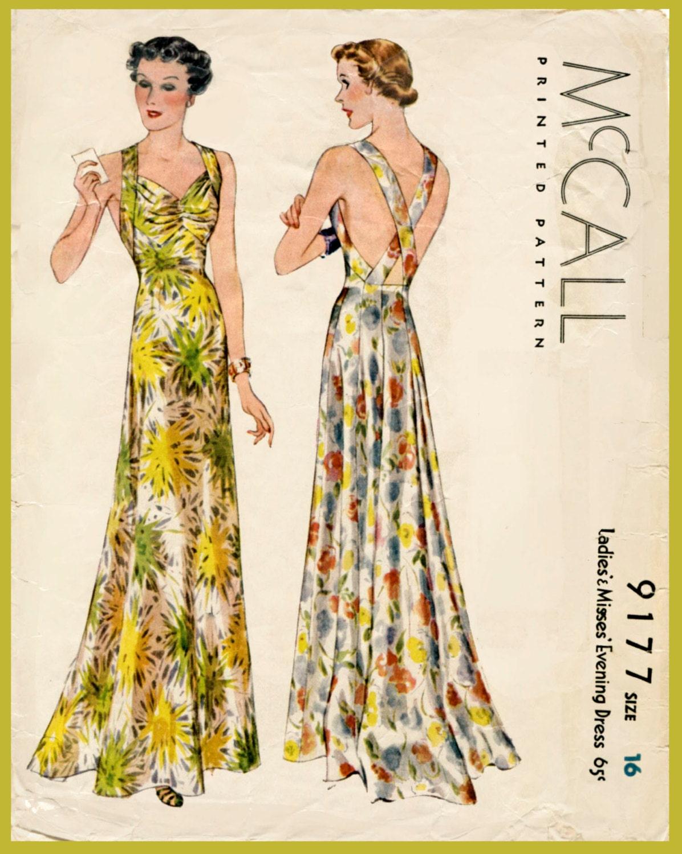 1930er Jahre Vintage Alix Abendkleid Schnittmuster
