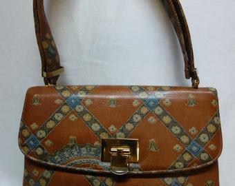 MOSKOWITZ Vintage 60s Painted Leather Handbag/Shoulderbag