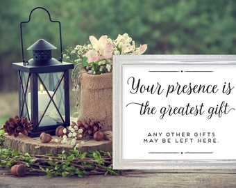 Your presence is the greatest gift, Wedding Favors Printable. Wedding Favors Print. Favors Wedding. Wedding Printables.