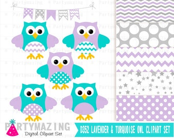 Owl Clip Art , Lavender and Turquoise Clip Art Set and Digital Paper Set- Cute Owl Clipart set, Polka dot and Chevron D352