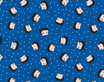 Betty Boop Fabric by the yard / Betty Dot in Royal /  Red White and Boop / Camelot Fabrics 4510204 Betty Boop /Cotton Yardage / Fat Quarters