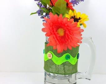 Burlap glass mug yellow and orange flowers with green trim 105