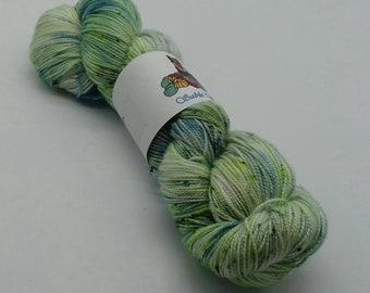 80/20 Superwash Merino/Silk high twist sock yarn: Radioactive