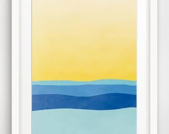 Large Abstract Art Print, Ocean Art, Beach Art, Sea Art, Beach Decor, Abstract Seascape, Minimalist Art, Blue Yellow Art