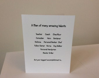 Man of many amazing talents Father's Day card