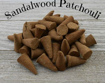Sandalwood Patchouli Incense Cones - Hand Dipped Incense Cones