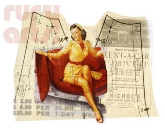Dallas 1952: Car Gal - Giclée Print from Digital Collage