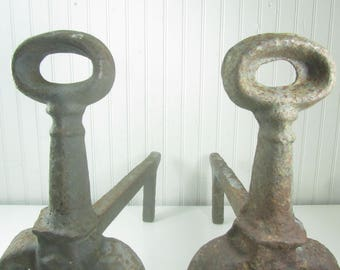 Antique Andirons, fireplace tools, log holder, rusty metal,halo, round top,Iron Andirons, Iron Firedogs, Cast Iron Andirons