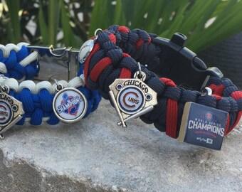 Chicago Cubs Championship Paracord Bracelet, 2 championship charm choices