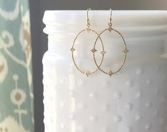 OLIVIA | Simple Gold Oval Earrings | CZ Earrings | Gold Oval Earrings | Dainty Oval Minimal Earrings | Gold Oval Diamond Earrings