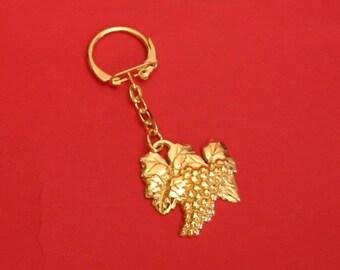 Grape Vine Gold Plated Pewter Keyring Wine Lover Gift Christmas Gift