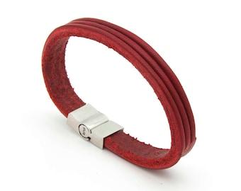 Red leather bracelet, Minimalist cuff bracelet, Red cuff bracelet  - the TRI Cuff