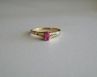 Vintage 14k Gold Ring with Ruby Stone, Ring Size 6 1/2