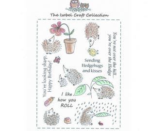 A6 set of photo-polymer clear stamps - HEDGEHOG DESIGN