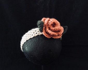 Dusty rose crochet 00 baby girl headband