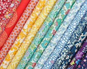 """14 LIBERTY fabric Tana Lawn  5"""" x 5"""" Patchwork pieces 'Rainbow''- Liberty London, Liberty quilt, Liberty patchwork, Liberty Tana Lawn"""