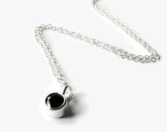 CZ solitaire necklace sterling silver layering necklace black cubic zirconia pendant faceted gemstone