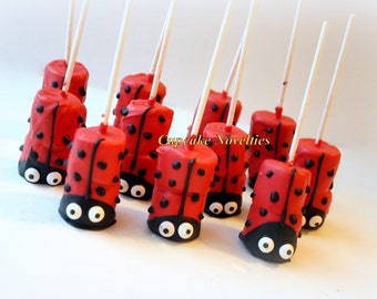Ladybug Birthday Party Favors Dessert Chocolate dipped Marshmallows Pops Valentine's Day Edible Favor Cookies Ladybug Baby Shower Cute Ideas