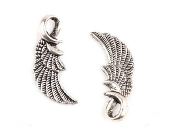 10 Angel Wing Charms Pendants Swirled Loop SMALLER Version Antique Silver Tone Heavenly Charm Jewelry 24x10 mm