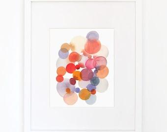Cluster in Magenta & Violet - Watercolor Art Print