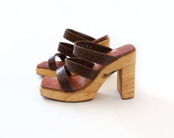 Vintage FREE LANCE Paris woven leather wood heels sz. 38 1/2 7 1/2 8