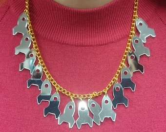 Mirrored Rocket Ship necklace