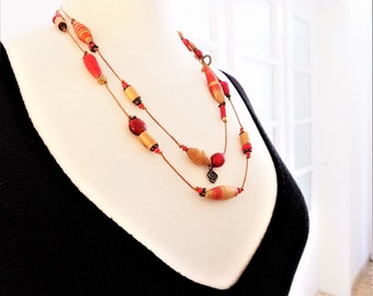 MadeInAmorgos red necklace paperbeads and glass beads
