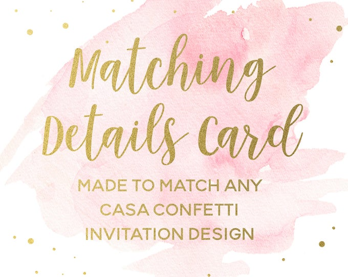 Matching Details Cards for any Casa Confetti Design, Custom Wedding Registry,  Accommodations, Directions Custom Insert, Printed Printable
