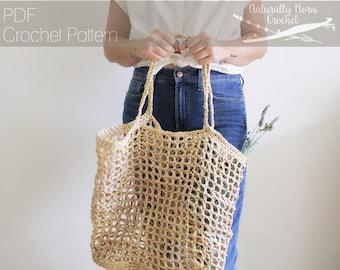 Crochet Pattern: The Riviera Tote- one size market bag raffia simple summer bag