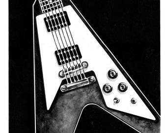 Gibson Flying V print - multiple sizes