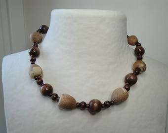 Necklace made of seeds and Brown wood